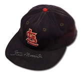 1950S STAN MUSIAL AUTOGRAPHED ST. LOUIS CARDINALS GAME WORN CAP (DELBERT MICKEL COLLECTION)