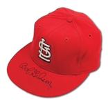 LATE 1960S BOB GIBSON AUTOGRAPHED ST. LOUIS CARDINALS GAME WORN CAP (DELBERT MICKEL COLLECTION)