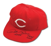C.1971 PETE ROSE AUTOGRAPHED CINCINNATI REDS GAME WORN CAP (DELBERT MICKEL COLLECTION)