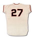 1968 JUAN MARICHAL SAN FRANCISCO GIANTS GAME WORN HOME JERSEY (DELBERT MICKEL COLLECTION)