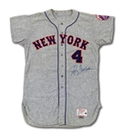 1964 WAYNE GRAHAM NEW YORK METS GAME WORN ROAD JERSEY SIGNED BY RON SWOBODA (DELBERT MICKEL COLLECTION)