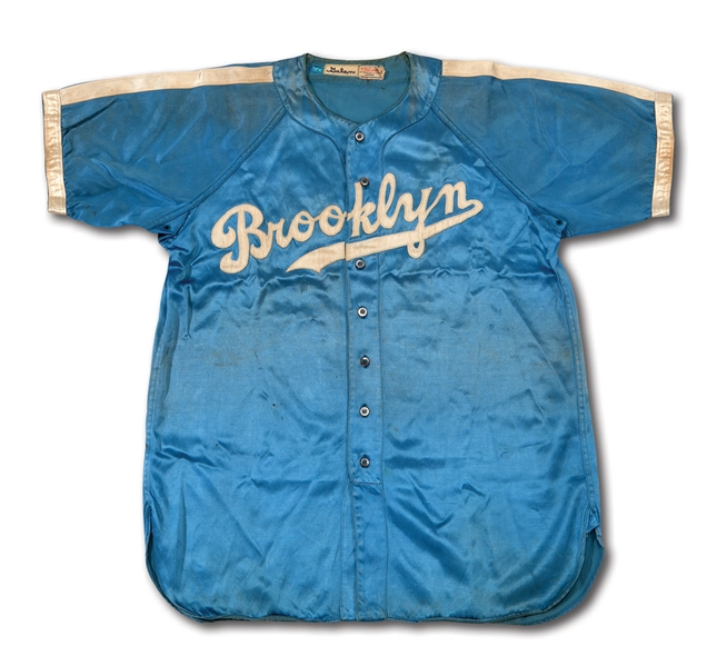 "1944 AUGIE GALAN BROOKLYN DODGERS GAME WORN BLUE SATIN ""NIGHT GAME"" JERSEY - RARE ONE-YEAR STYLE (MEARS A9.5, DELBERT MICKEL COLLECTION)"
