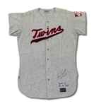 1970 LUIS TIANT AUTOGRAPHED MINNESOTA TWINS GAME WORN ROAD JERSEY (DELBERT MICKEL COLLECTION)