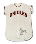 1963 BROOKS ROBINSON AUTOGRAPHED BALTIMORE ORIOLES GAME WORN HOME JERSEY (MEARS A10, DELBERT MICKEL COLLECTION)