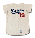 1967 JIM GILLIAM LOS ANGELES DODGERS GAME WORN COACHES HOME JERSEY (DELBERT MICKEL COLLECTION)