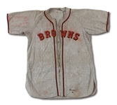 1946 ELLIS KINDER ST. LOUIS BROWNS GAME WORN ROAD JERSEY (DELBERT MICKEL COLLECTION)