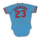 1977 TED SIMMONS AUTOGRAPHED ST. LOUIS CARDINALS GAME WORN ROAD JERSEY (DELBERT MICKEL COLLECTION)
