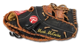 C.1996-2001 MARK MCGWIRE GAME USED RAWLINGS PROFESSIONAL MODEL GAME USED FIRST BASEMANS GLOVE (DELBERT MICKEL COLLECTION)