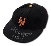 C.1954 WILLIE MAYS SIGNED & INSCRIBED NEW YORK GIANTS GAME WORN CAP (DOCUMENTED PROVENANCE)