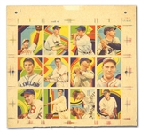 1936 R327 DIAMOND STARS ONE-OF-A-KIND UNCUT SHEET OF THE 12 NEVER ISSUED HIGH NUMBERS WITH HORNSBY/BOTTOMLEY, GOMEZ, AND GOSLIN