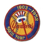 ORIGINAL 1952 NEW YORK YANKEES 50TH ANNIVERSARY UNIFORM SLEEVE PATCH (DELBERT MICKEL COLLECTION)