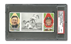 "1912 T202 HASSAN TRIPLE FOLDER ""TY COBB STEALS THIRD"" TY COBB/HUGH JENNINGS NM PSA 7"