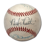 FINE BABE RUTH, JOE DIMAGGIO AND MICKEY MANTLE SIGNED BASEBALL WITH EXCEPTIONAL ORIGINAL OWNER PROVENANCE