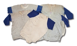 DON DRYSDALES CIRCA 1960S LOS ANGELES DODGERS LOT OF (5) GAME WORN UNDERSHIRTS WITH EXCELLENT WEAR (DRYSDALE COLLECTION)