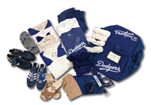 DON DRYSDALES LATE 1960S LOS ANGELES DODGERS GAME USED EQUIPMENT BAG FULL OF TWO DOZEN ITEMS WORN AS PLAYER & COACH (DRYSDALE COLLECTION)