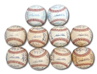 DON DRYSDALES 1967 LOS ANGELES DODGERS TEAM SIGNED BASEBALL LOT OF 10 (DRYSDALE COLLECTION)
