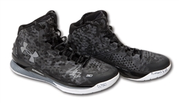 2014-15 STEPHEN CURRY DUAL SIGNED & INSCRIBED UNDER ARMOUR CURRY ONE MI-30 GAME WORN SHOES FROM MVP & CHAMPIONSHIP SEASON (CURRY LOA, FANATICS COA)