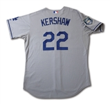 2008 CLAYTON KERSHAW LOS ANGELES DODGERS ROOKIE SEASON GAME WORN ROAD JERSEY