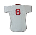 1973 CARL YASTRZEMSKI AUTOGRAPHED BOSTON RED SOX GAME WORN ROAD JERSEY (MEARS A8)
