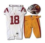 2008 DAMIAN WILLIAMS USC TROJANS AUTOGRAPHED GAME WORN UNIFORM, HELMET AND LOCKER SIGN (DELBERT MICKEL COLLECTION)