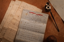 "THE LAWS OF BASE BALL – THREE DOCUMENT SET INCLUDING ORIGINAL DRAFT WRITTEN BY DANIEL LUCIUS ""DOC"" ADAMS, 1856 (3 PAGES), RULES FOR MATCH GAMES OF BASE BALL, 1857 (4 PAGES), AND LAWS OF BASE BALL AS PRESENTED AT THE BASE BALL CONVENTION OF 1857 (14 PAGES)"