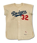 1956 SANDY KOUFAX AUTOGRAPHED BROOKLYN DODGERS GAME WORN HOME JERSEY (MEARS A9) – THE HOBBY'S ONLY FULLY AUTHENTICATED, UNALTERED JERSEY WORN BY KOUFAX IN THE HALLOWED CONFINES OF EBBETS FIELD!