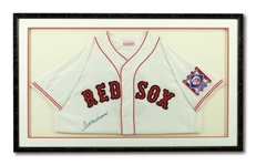 TED WILLIAMS AUTOGRAPHED BOSTON RED SOX MITCHELL & NESS REPLICA JERSEY IN FRAMED DISPLAY (RUTH FAMILY LOA)