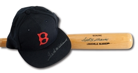TED WILLIAMS AUTOGRAPHED BAT AND BOSTON RED SOX REPLICA CAP PAIR (RUTH FAMILY LOA)