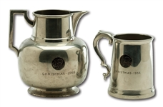 1955 NEW YORK YANKEES PEWTER CHRISTMAS TANKARD AND 1956 PEWTER CHRISTMAS PITCHER (DELBERT MICKEL COLLECTION)