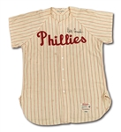 1962 BILLY CONSOLO AUTOGRAPHED PHILADELPHIA PHILLIES GAME WORN HOME JERSEY (DELBERT MICKEL COLLECTION)