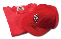 BOB GIBSON ATTRIBUTED ST. LOUIS CARDINALS GAME WORN UNDERSHIRT AND AUTOGRAPHED CAP PAIR (DELBERT MICKEL COLLECTION)