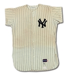 1970 MIKE KEKICH NEW YORK YANKEES GAME WORN HOME JERSEY (DELBERT MICKEL COLLECTION)