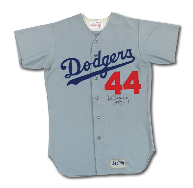 1974 AL DOWNING AUTOGRAPHED LOS ANGELES DODGERS GAME WORN ROAD JERSEY FROM YEAR HE SERVED UP HANK AARONS RECORD HR #715 (DELBERT MICKEL COLLECTION)