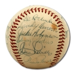 1955 BROOKLYN DODGERS WORLD CHAMPIONSHIP TEAM SIGNED ONL (GILES) BASEBALL INCL. JACKIE ROBINSON AND ROOKIE SANDY KOUFAX (BRISSIE FAMILY LOA)