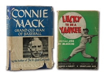 "JOE DIMAGGIO SIGNED COPY OF ""LUCKY TO BE A YANKEE"" AND CONNIE MACK INSCRIBED COPY OF ""GRAND OLD MAN OF BASEBALL"" TO LOU BRISSIE (BRISSIE FAMILY LOA)"