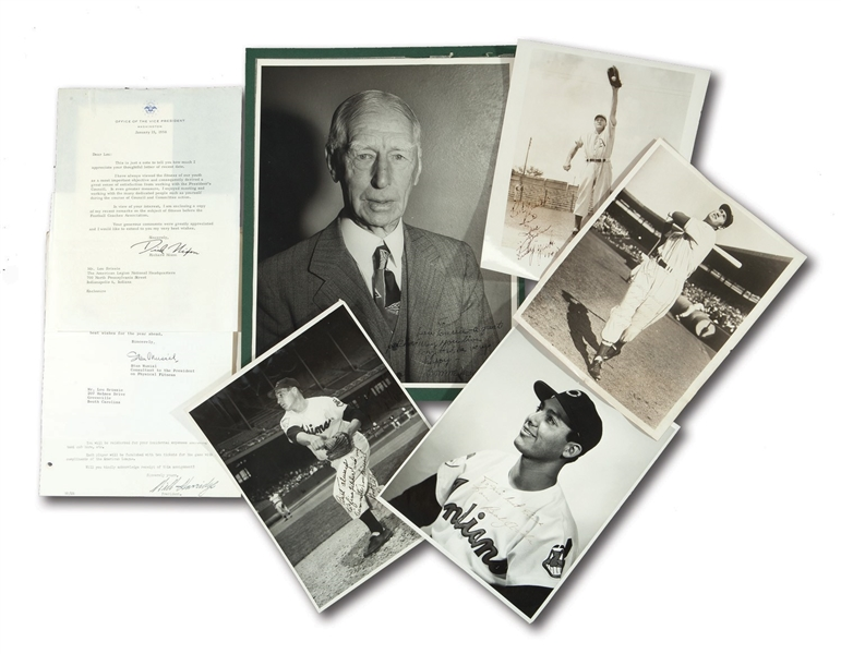 LOU BRISSIES COLLECTION OF AUTOGRAPHED PHOTOGRAPHS (4) AND SIGNED CORRESPONDENCE (2) INCL. ITEMS FROM CONNIE MACK, TED WILLIAMS, RICHARD NIXON, ETC. (BRISSIE FAMILY LOA)
