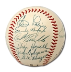 WALTER ALSTON'S 1955 BROOKLYN DODGERS WORLD CHAMPION TEAM SIGNED ONL (GILES) BASEBALL W/ 16 AUTOS. INCL. JACKIE, CAMPY & ROOKIE KOUFAX (ALSTON COLLECTION)