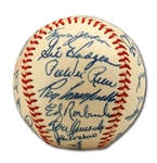 WALTER ALSTONS 1957 BROOKLYN DODGERS TEAM SIGNED ONL (GILES) BASEBALL INCL. CAMPANELLA & KOUFAX (ALSTON COLLECTION)
