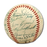 WALTER ALSTONS 1956 BROOKLYN DODGERS NATIONAL LEAGUE CHAMPION TEAM SIGNED ONL (GILES) BASEBALL WITH JACKIE, CAMPY & KOUFAX (ALSTON COLLECTION)