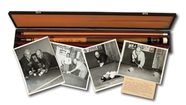 WALTER ALSTONS CUSTOM CRAFTED POOL CUE IN CARRYING CASE WITH ACCOMPANYING BILLIARDS PHOTOGRAPHS (ALSTON COLLECTION)