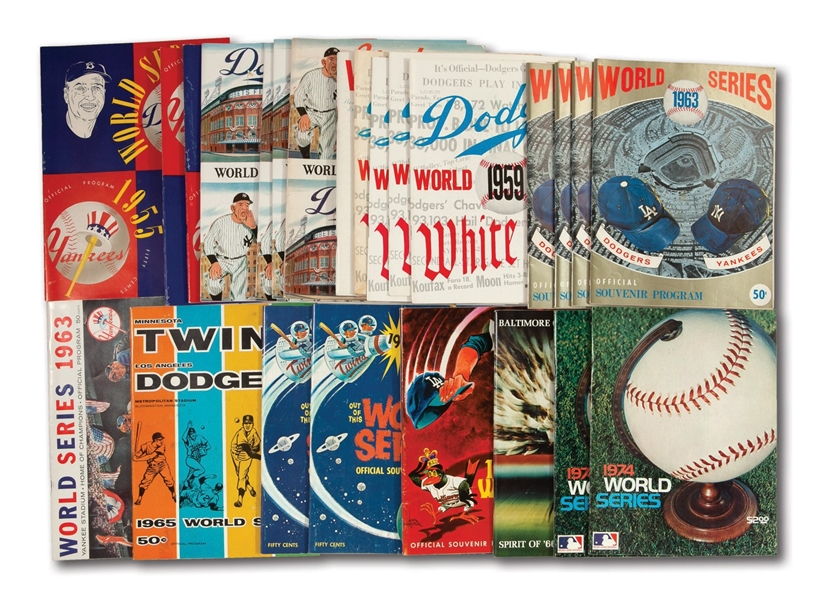 WALTER ALSTONS COLLECTION OF (24) HIGH-GRADE 1955-1974 BROOKLYN/LOS ANGELES DODGERS WORLD SERIES PROGRAMS (ALSTON COLLECTION)
