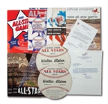WALTER ALSTONS LOT OF ALL-STAR GAME RELATED ITEMS INCL. (7) 1954-59 PROGRAMS AND (2) 1966 CONGRATULATORY LETTERS FROM WARREN GILES AND WALTER OMALLEY (ALSTON COLLECTION)