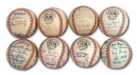 WALTER ALSTONS LOT OF (8) 1962-69 LOS ANGELES DODGERS TEAM SIGNED BASEBALLS INCL. 1963 & 1965 WORLD SERIES CHAMPIONS AND 1966 NL CHAMPIONS (ALSTON COLLECTION)
