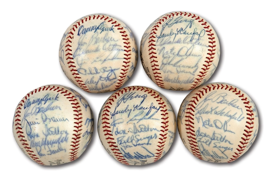 WALTER ALSTONS LOT OF (5) 1966 NL CHAMPION LOS ANGELES DODGERS TEAM SIGNED BASEBALLS (ALSTON COLLECTION)
