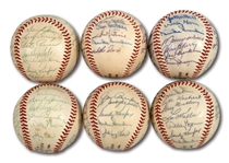 WALTER ALSTONS LOT OF (6) 1962 LOS ANGELES DODGERS TEAM SIGNED BASEBALLS (ALSTON COLLECTION)
