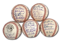 WALTER ALSTONS LOT OF (5) 1968 LOS ANGELES DODGERS TEAM SIGNED BASEBALLS (ALSTON COLLECTION)