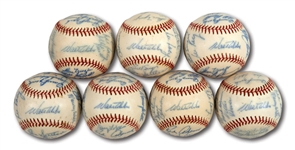 WALTER ALSTONS LOT OF (7) 1972 LOS ANGELES DODGERS TEAM SIGNED BASEBALLS (ALSTON COLLECTION)