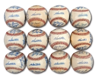 WALTER ALSTONS LOT OF (12) 1973 LOS ANGELES DODGERS TEAM SIGNED BASEBALLS (ALSTON COLLECTION)