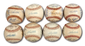 WALTER ALSTONS LOT OF (8) 1974 LOS ANGELES DODGERS NATIONAL LEAGUE CHAMPION TEAM SIGNED AND PARTIAL TEAM SIGNED BASEBALLS (ALSTON COLLECTION)