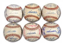 WALTER ALSTONS LOT OF (6) 1970-75 LOS ANGELES DODGERS TEAM SIGNED BASEBALLS (ALSTON COLLECTION)